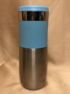 Rare HTF Aladdin Migo Light Blue Commuter Tumbler Mug 16 oz Silver w Sip Lid