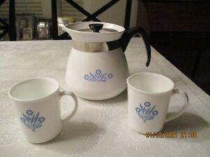 2 Coffee Mugs & 2 Quart Corningware Cornflower Coffee Pot
