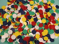 1000 x 22mm Plastic Counters - Red, Green, White, Yellow & Blue - Ref: 00529