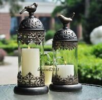 FRENCH COUNTRY METAL GLASS BIRD CAGE CANDLE STAND HOLDER WINDPROOF LID