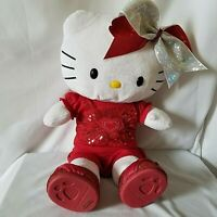 """Hello Kitty Build A Bear Workshop White Yellow Nose 19"""" Red Sequin Shoes Bow"""