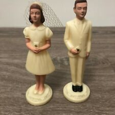 "Vintage Bride and Groom 5"" Plastic Cream Colored Cake Toppers"
