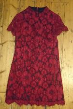 Betsey Johnson Lined Red Black Floral Lace Dress Vintage Style XS 8 Oriental