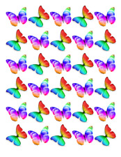 30 x Multi Colour Butterflies Cupcake Toppers Edible Wafer Paper Fairy Cakes