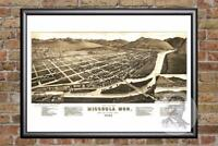 Vintage Missoula, MT Map 1884 - Historic Montana Art - Old Victorian Industrial