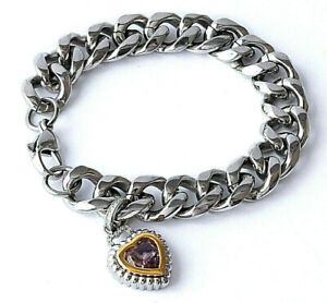 Stainless Steel Curb Link Bracelet W/Pink Amy Heart 2-Tone Dia Set Charm