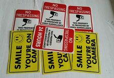 VIDEO SURVEILLANCE Security Decal  Warning Sticker (no tre.& smile )set of 7 pcs