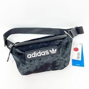 Adidas Fanny Pack Black Velour Logo Bag Purse SAMPLE Trefoil Adjustable Spellout