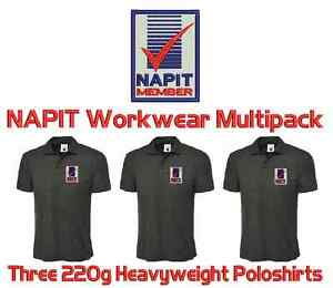 3 Workwear Uniform Poloshirts. FREE NAPIT ELECTRICIAN LOGO & YOUR LETTERING!