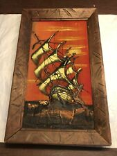 Great Vintage Mid-Century Velvet Ship Painting Abstract