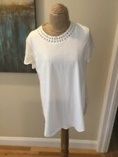 NEW 3.1 PHILLIP LIM Ivory Safety Pin Embellished Cotton Silk Blouse Size Large
