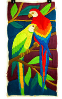 "Vintage Crewel Embroidery Parrots Bird Finished LARGE 1980's Colorful 30"" x 17"""
