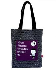 "ANGRY LITTLE GIRLS ""YOUR STATUS UPDATES ANNOY ME"" TOTE GROCERY CARRY ALL BAG"