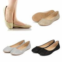 Women's Glitter Shimmer Slip On Ballet Flats Round Toe Ballerina Flat Shoes