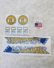 "GT 20"" PRO PERFORMER WHITE YELLOW  REPRO DECALS BMX  STICKERS"