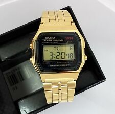 CASIO Digital  Alarm Chronograph A159WGEA-1  A159WGEA  Gold band  Black dial
