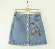 Miss Selfridge Blue Denim Button Up Skirt with Floral Embroidery Size 8