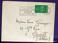 FRANCIA, 1959, sello 1218, EUROPA, CANNES , en la carta FA36