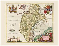Old Vintage Cumberland County England decorative map Blaeu ca. 1655