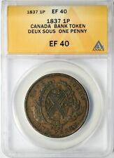 1837 Canada Bank Token Deux Sous One Penny 1P ANACS EF40