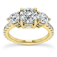 1.95 Carat SI1/D Round Cut Three Stone Diamond Engagement Ring 14k Yellow Gold