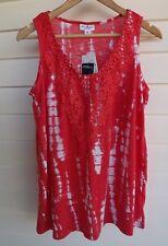BNWT Millers Women's Coral & White Tie Dye Singlet Top - Size 14