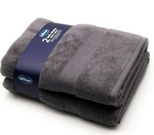 silentnight 100 percent cotton bath sheet 90cm×145cm, charcoal, pack of 2