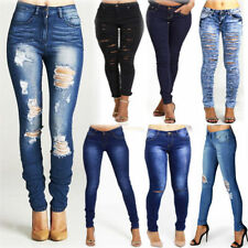 Ripped, Frayed Low Slim, Skinny Jeans for Women