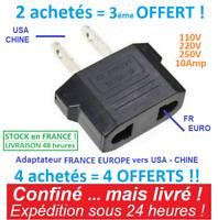 Adaptateur prise France EU Europe vers US USA voyage secteur Eur FR Chine