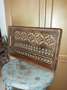 HAND CARVED MANGO WOOD MOROCCAN INSPIRED TRAY -  MED