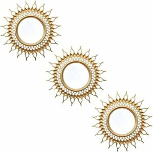 Small Wall Mirrors Decorative Living Room Set of 3   Gold Round Style0005