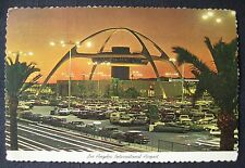 Los Angeles International Airport CA Theme Building at Night Deckle 4X6 Postcard