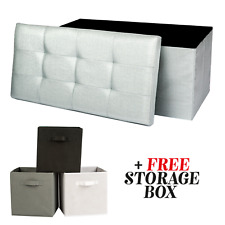 OTTOMAN STORAGE BOX FORDABLE SEAT TOY BEDROOM POUFFE FOOT STOOL 2 SEATER DOUBLE