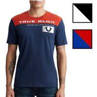 True Religion Men's Contrast Football w/ Metallic Foil Horseshoe Tee T-Shirt