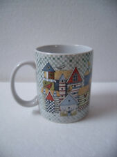 """1996 Lang and Wise """"Birdhouse Patchwork"""" Mug Cup ~ Made in Thailand"""