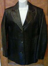 EUC Worthington Ladies Black Leather Jacket Coat 3 Button M Medium Free Shipping