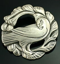 """Vintage Arts and Craft Sterling Silver Fancy Bird 1.75"""" Wide Pin"""