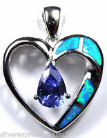 Tanzanite & Blue Fire Opal Inlay 925 Sterling Silver Heart Pendant For Necklace