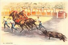 Barcelona Spain Bull Fighting El Arrastre Sports Postcard (c. 1940s)