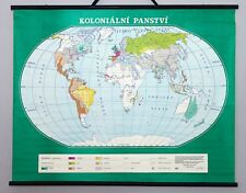 Antique Vintage world school map wall chart. Rare map of Colonial possessions.