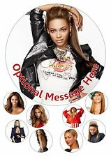 "Beyonce Knowles Helado/Glaseado/Glaseado Edible Cake Topper 7.5"" + Cupcake Tops"