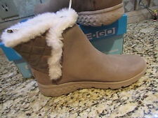 NEW SKECHERS ON THE GO COZIES TAUPE BOOTS WOMENS 8 14356 ANKLE BOOTS FUR LINED