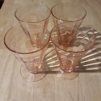 Set Of Four Pink Glass Cups Collectible Home Kitchen Decor