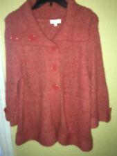 Fashion Bug Sweater Cardigan Chunky Knit •Orange • size Large