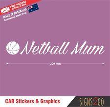 NETBALL STICKER NETBALL MUM Lettering For Car Van SUV 4x4 Bus Laptop iPad