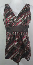 New York and Company Womens Tank Top Size 10 Plaid Multicolor V Neck Career