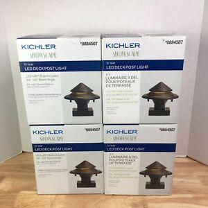 4 Kichler Showscape 12-Volt LED Deck Post Light Olde Bronze Hardwired 884507