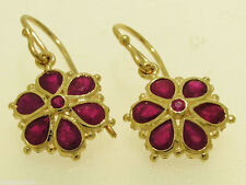 E036 Genuine 9ct 9K Gold NATURAL RUBY DAISY Drop Earrings Flower Blossom Dangle