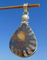 Ammonit aus Marokko Anhänger Silber 925 mit Perlmutt !