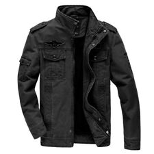 UK Men Military Jackets Cotton Casual Collar Jacket Coat Parkas Outwear Khaki L